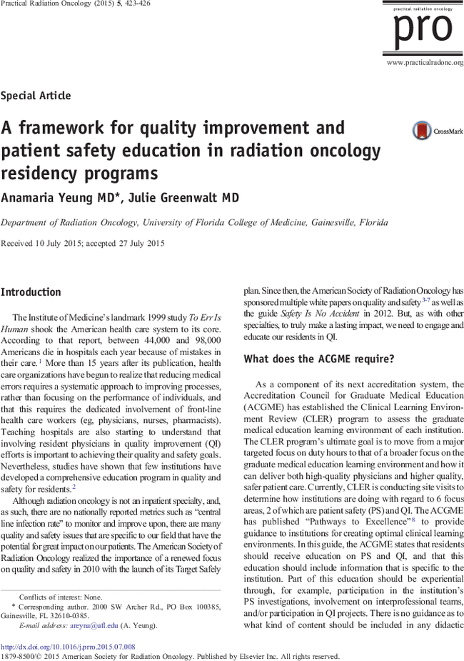 quality and safety in radiation oncology implementing tools pdf